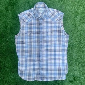 Lucky Brand cutoff Button Front plaid Shirt Large